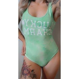 XS, Urban Heritage, lime green super soft bodysuit